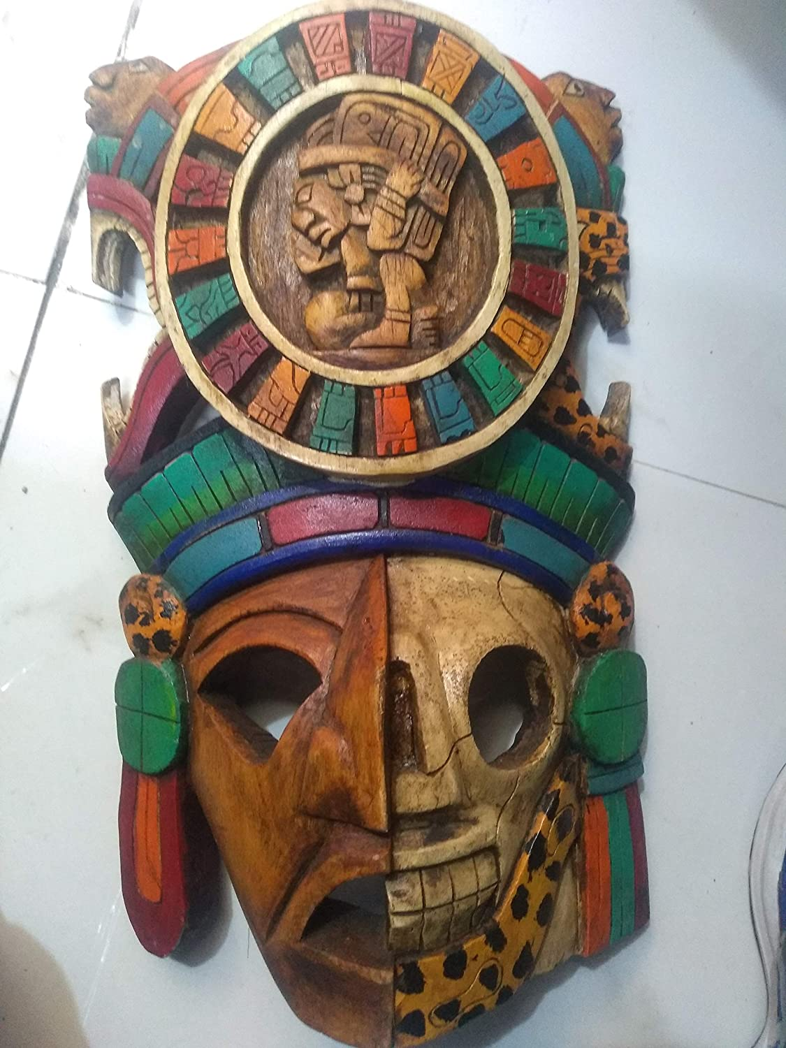 Archaeological Mask Large Decorative Wood Mayan Warrior Unique Piece Unique Sculpture Worked By Hand In Wood Handmade