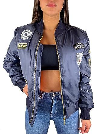 wholesale dealer 0ab35 906ff Worldclassca Damen Bomber Jacke MIT Army MILITÄR Patches ÜBERGANGSJACKE  Bomberjacke Blouson Piloten Jacke Fliegerjacke Blogger Clubwear NEU ...