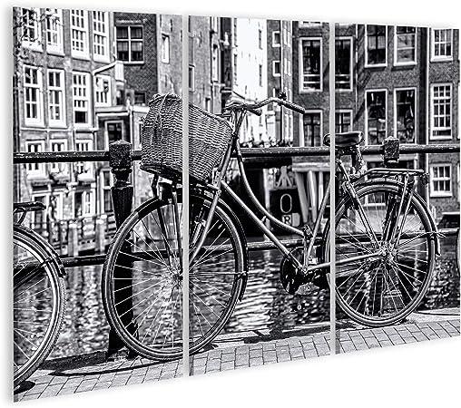 Cuadro Cuadros Amsterdam en Blanco y Negro con Bicicleta en el ...