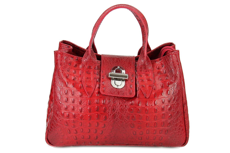 Belli ? Classic Genuine Leather Red Croc Patent Handbag 36 x 25 x 18 CM (B x H x T)
