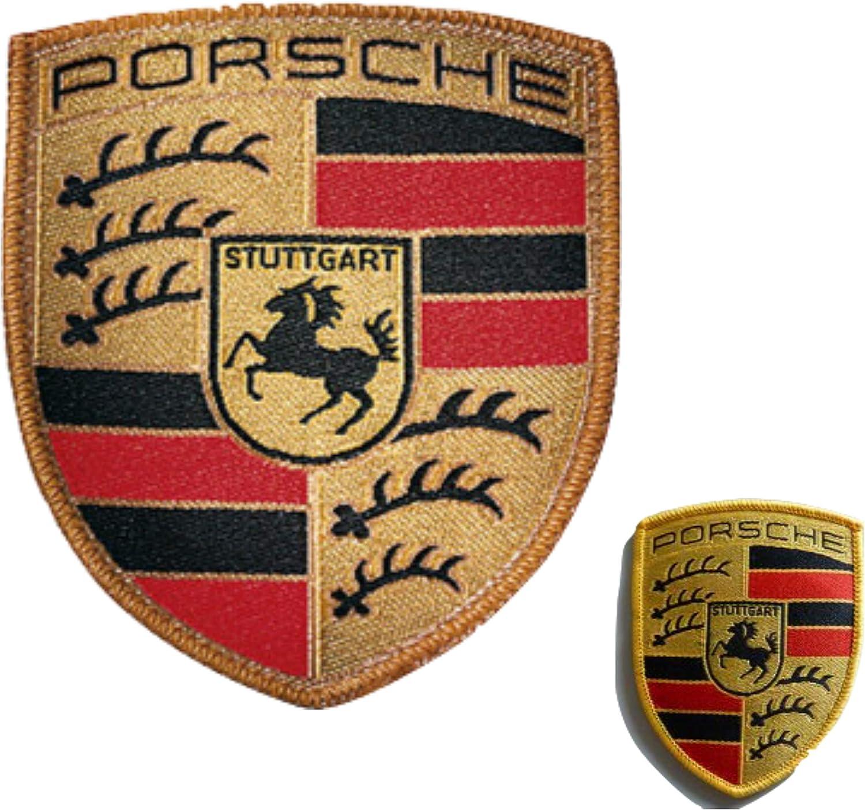 Porsche Aufnäher Aufbügler Stoffwappen 53 X 65 Mm Stoff Wappen Hier Plus Extra Schlüsselring Mit Schraubverschluss Set Auto