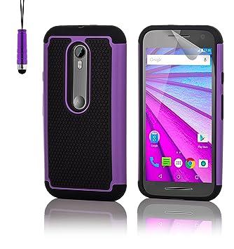 32nd® Funda Rígida Anti-Choques de Alta Proteccion para Motorola Moto G 3 (3. Generacion, 2015) Carcasa Defensora de Doble Capa - Morado