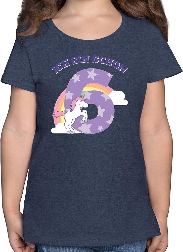 Geburtstag Kind M/ädchen Kinder T-Shirt Ich Bin Schon 6 Einhorn
