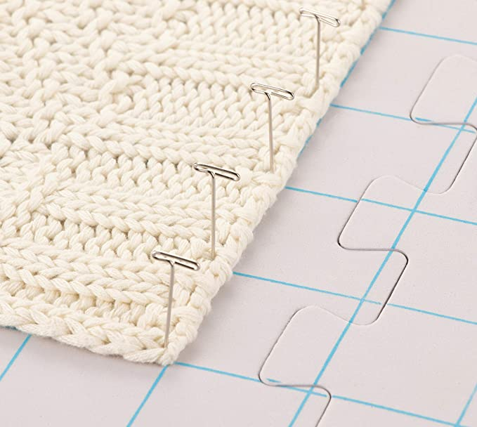 Juvale 9-Pack Thick Blocking Board Mats with 200 T-Pins and Storage Bag for Knitting and Crochet 12.5 Inches