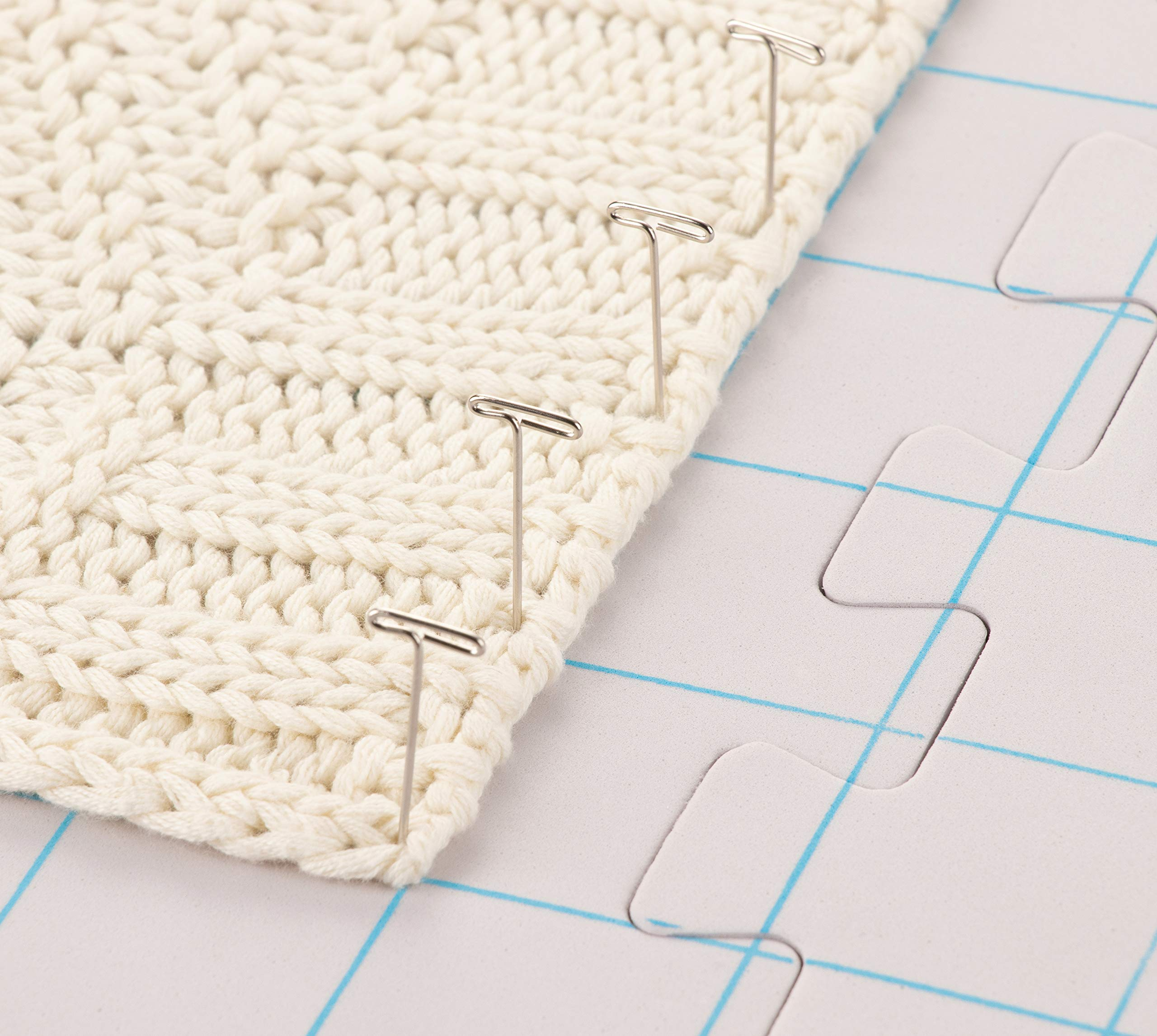 Juvale 9-Pack Thick Blocking Board Mats with 200 T-Pins and Storage Bag for Knitting and Crochet, 12.5 Inches by Juvale (Image #3)
