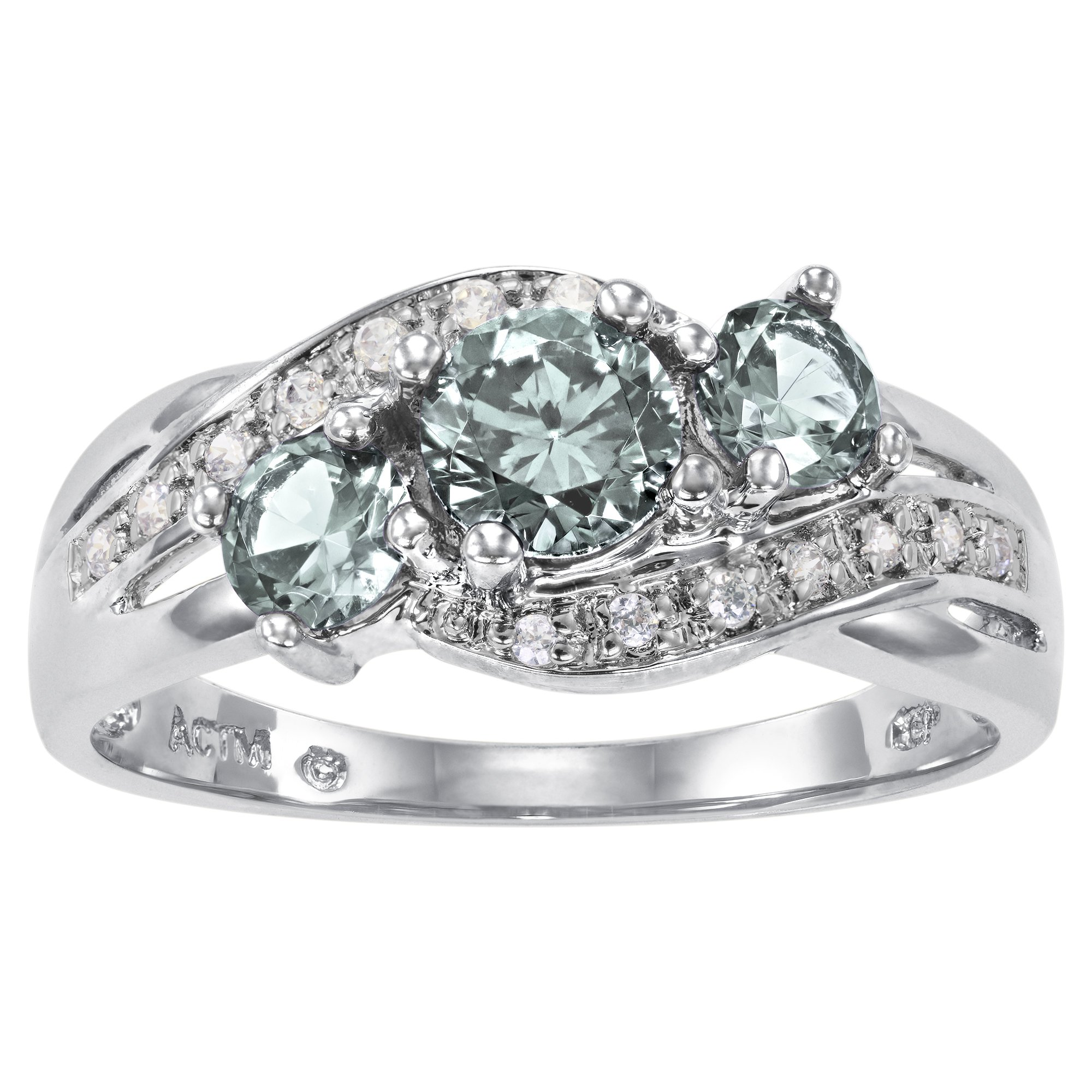 ArtCarved Love You TooSimulated Aquamarine March Birthstone Ring, Sterling Silver, Size 7.5