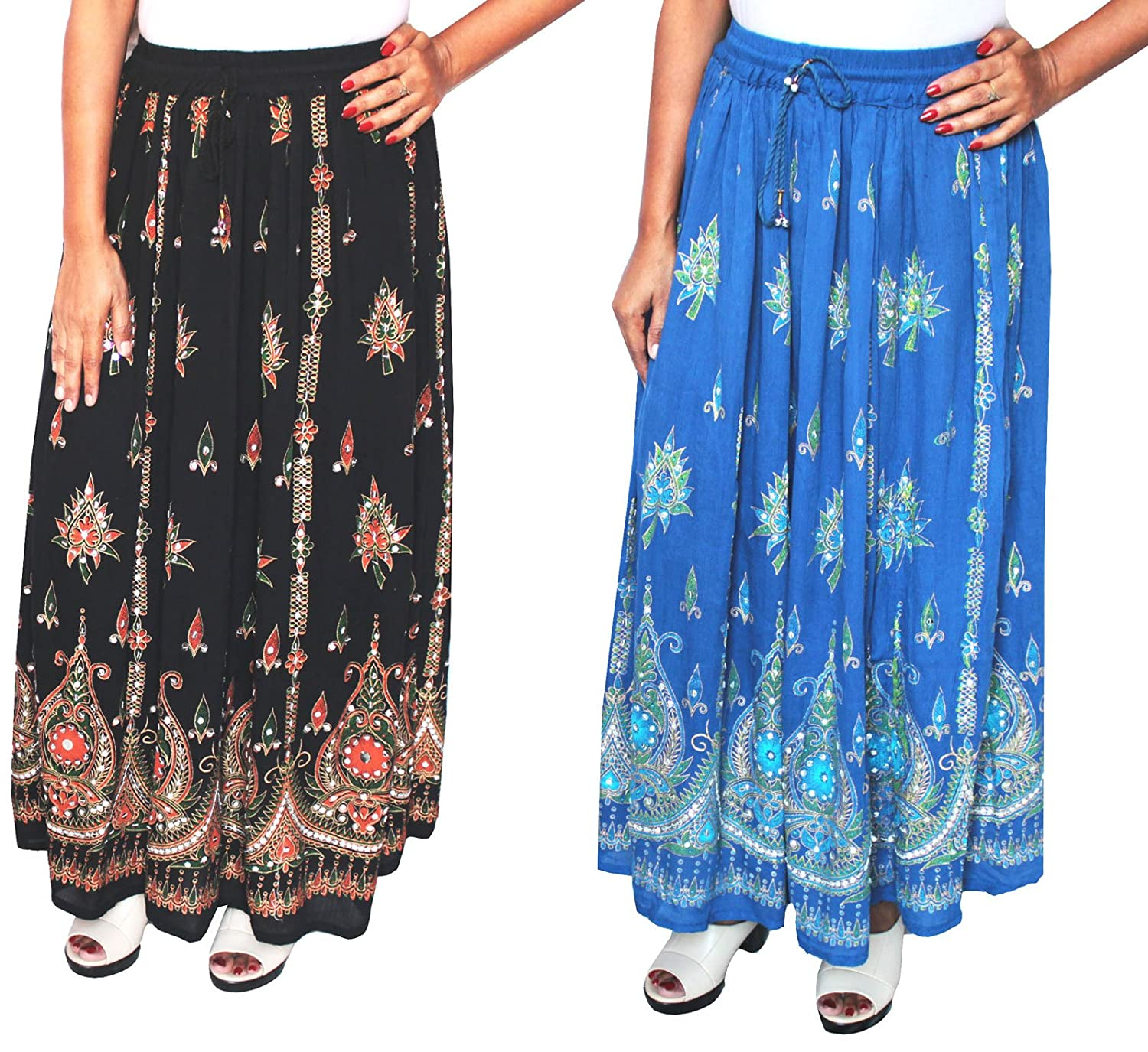 Maple Clothing Women's Long Skirts Sequins Ankle Length Rayon Indian Clothing One Size) lngsktd217122a-bl