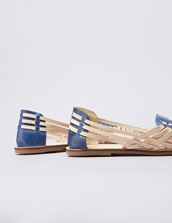 find. Sandalias de Cuero Trenzado Mujer, Varios Colores (Tan/Navy ...