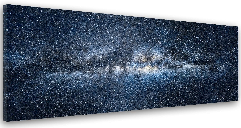Feeby Cuadro en Lienzo, Imagen Impresión, Pintura Decoración, Canvas de una Pieza, 150x50 cm, Cosmos, Universo, Azul