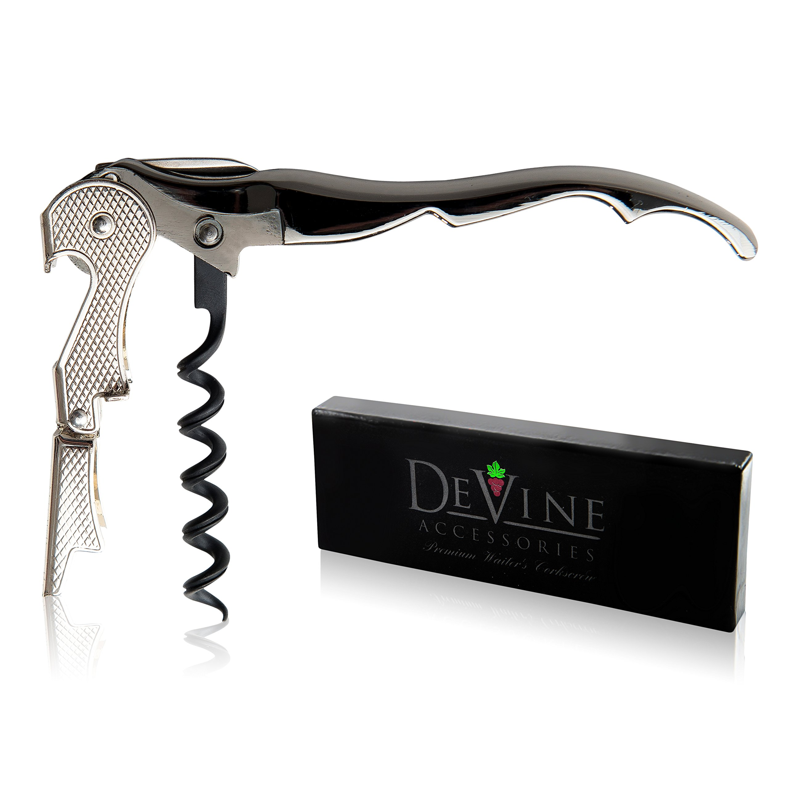 Premium Waiter's Corkscrew – Professional Grade Handheld Wine and Bottle Opener with Metalic Handle, Double Hinged Lever and Foil Cutter - by DeVine Accessories by DeVine Accessories (Image #1)