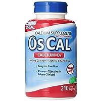 Os-Cal 500 + D, Calcium 500 mg., D3 200 I.U., 210 Coated Caplets