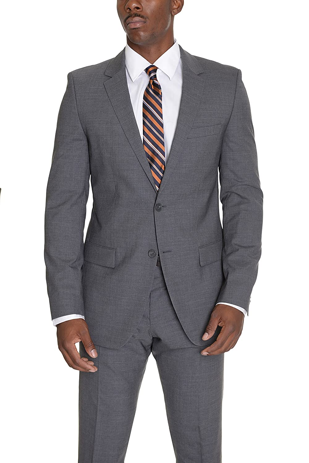 7d33a5b16 Hugo Boss Aamon/hago Slim Fit Heather Gray Two Button Stetch Wool Suit well-