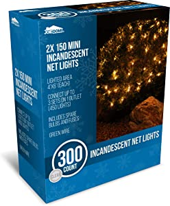 Joiedomi 2 Packs of 150 Warm White Incandescent Christmas Net Lights for Indoor & Outdoor Decorations, Christmas Events, Christmas Eve Night Decor, Christmas Tree, Bushes