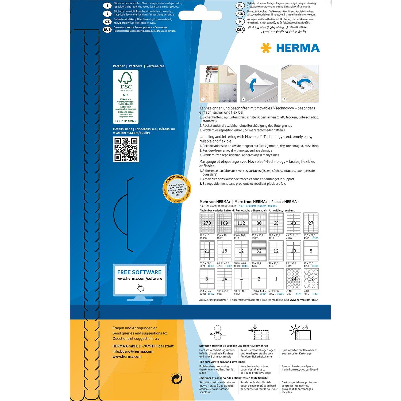 100 Blatt Papier matt Movables bedruckbar selbstklebend wieder haftend 100 Aufkleber Herma 10315 Universal Etiketten abl/ösbar wei/ß DIN A4 210 x 297 mm