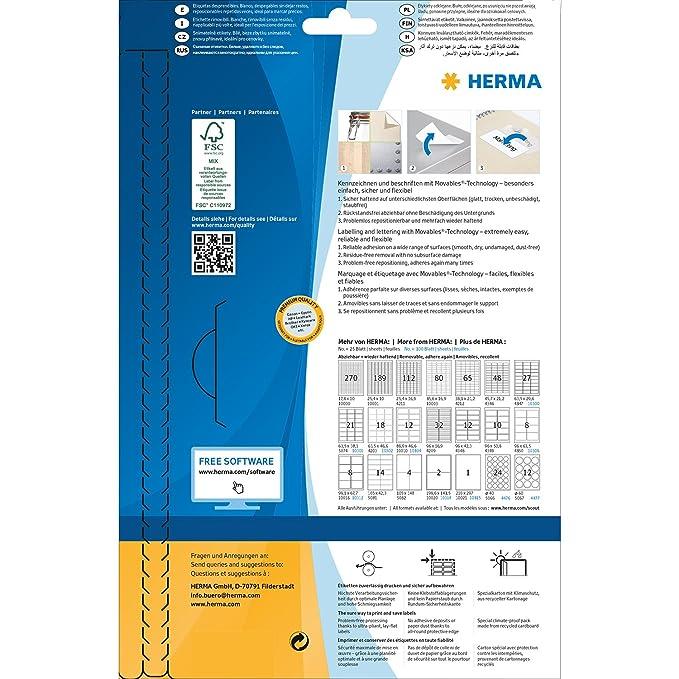 1000 Adressaufkleber selbstklebend wieder haftend 100 Blatt DIN A4 Papier matt 99,1 x 57 mm bedruckbar Herma 10316 Adressetiketten abl/ösbar wei/ß