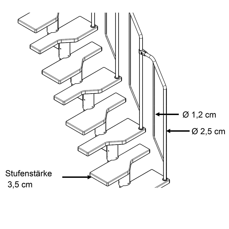 Lieferumfang 5 B/ügelelemente und 1 Oberelement Zus/ätzliches Steiggel/änder f/ür Aktionstreppe//Raumspartreppe mit Buche Holz-Stufen Treppengel/änder