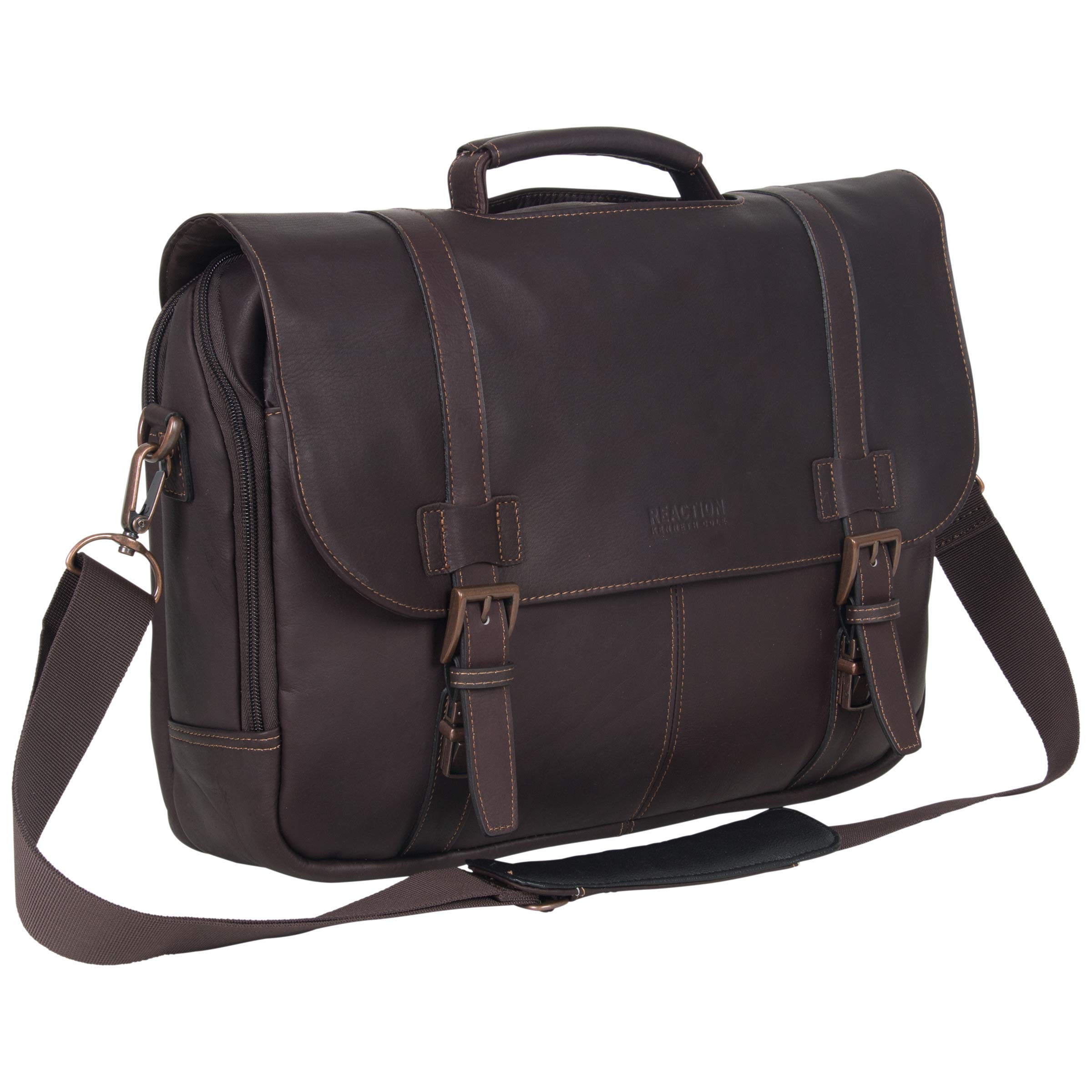 Kenneth Cole Reaction Show Full-Grain Colombian Leather Dual Compartment Flapover 15.6-inch Laptop Business Portfolio, Dark Brown by Kenneth Cole REACTION