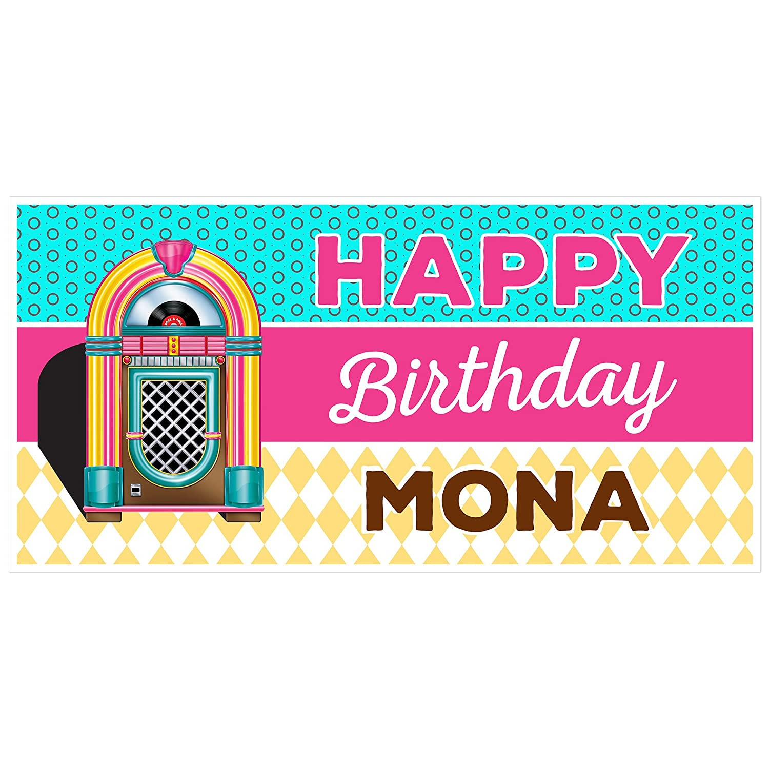 Retro 50s Jukebox Happy Birthday Banner Personalized Party Backdrop