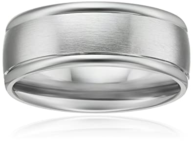 Platinum 8mm Comfort Fit Wedding Band With Satin Center And High Polished Round Edges