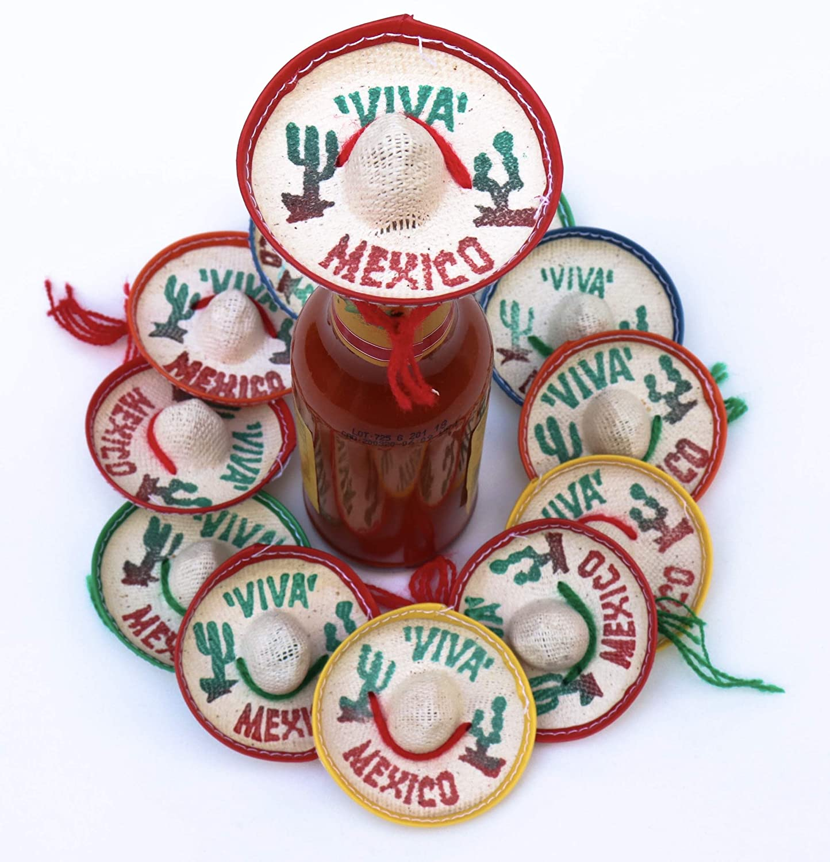 One Dozen Pk Mexico Party Favors - Tiny Sombrero Hats Mini for bottles Mexican decorations Viva hat mexicanos for Fiesta Straw decoraciones-cupcake toppers Cinco de Mayo Supplies
