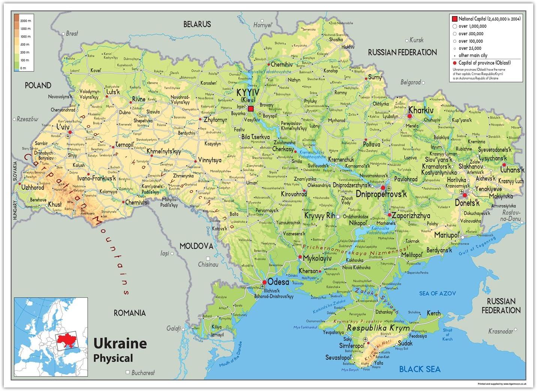 Cartina Geografica Russia Ucraina.Ucraina Mappa Fisica Carta Plastificata Ga A1 Size 59 4 X 84 1 Cm Clear Amazon It Cancelleria E Prodotti Per Ufficio