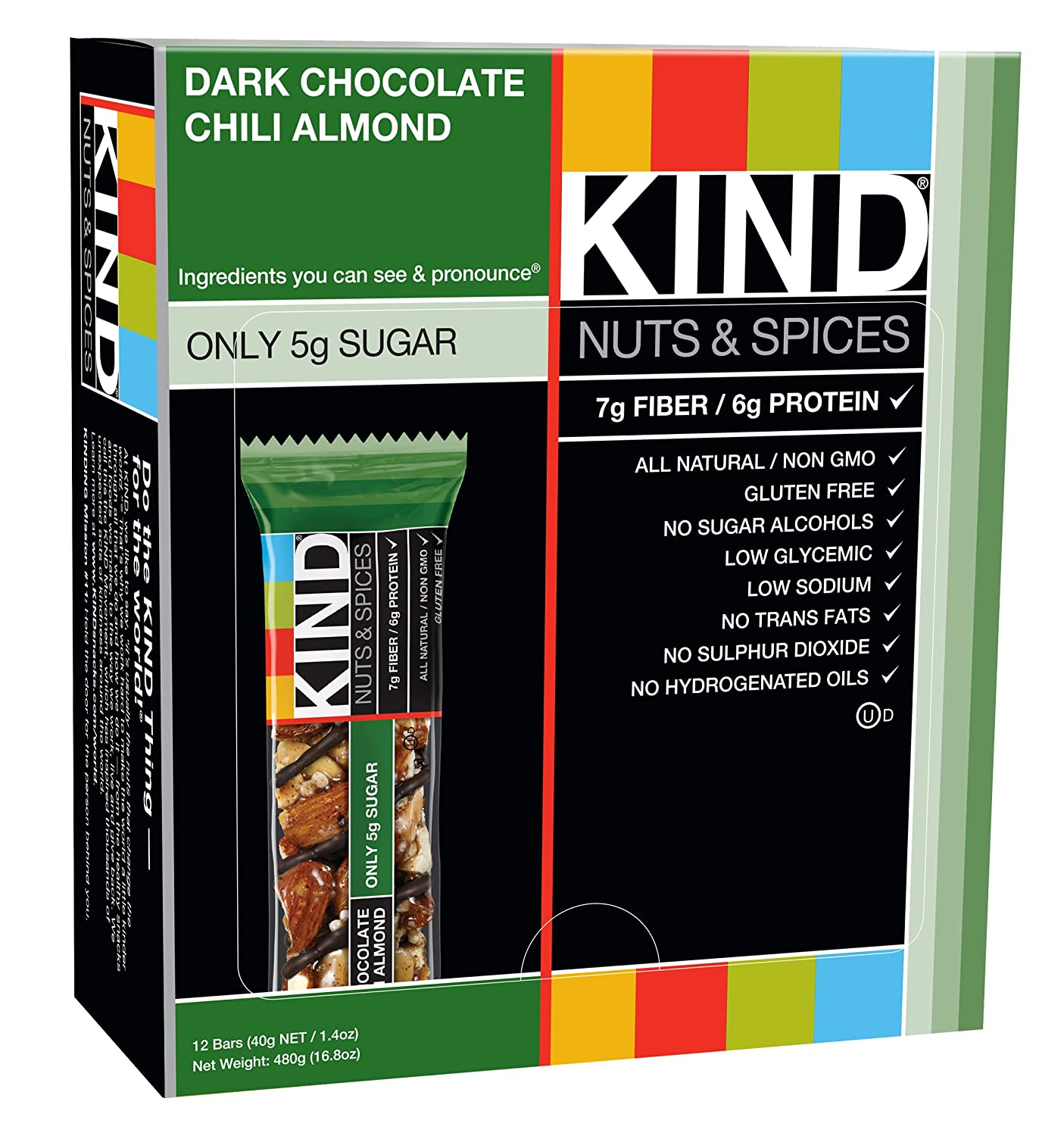 Amazon.com: KIND Bars, Dark Chocolate Chili Almond, Gluten Free ...