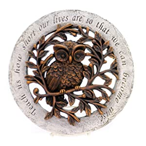 Wise Owl Bronze Tree Limbs 12 inch Resin Stone Decorative Stepping Stone