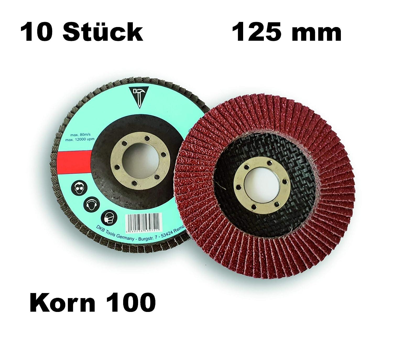 10 Stück DKB-Tools-Germany Fächerscheiben Ø 125mm Schleifscheiben für Stahl Holz Braun Schleifmoppteller (Korn 100)