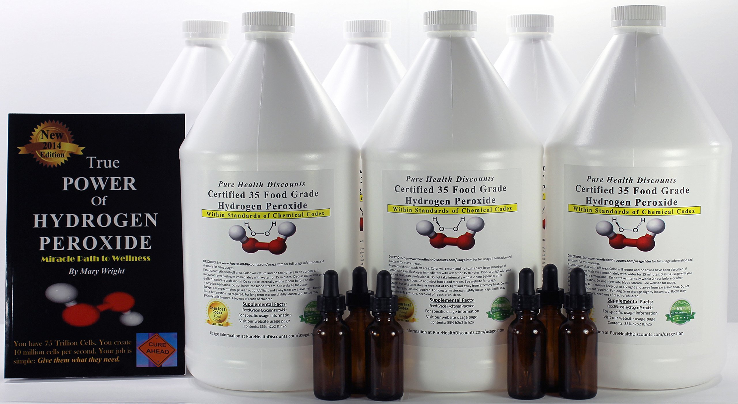 6 Gallons of 35% Food Grade Hydrogen Peroxide. Plus THE 2014 TRUE POWER OF HYDROGEN PEROXIDE, Miracle Path to Wellness. Bonus 6 Amber Dropper bottles.