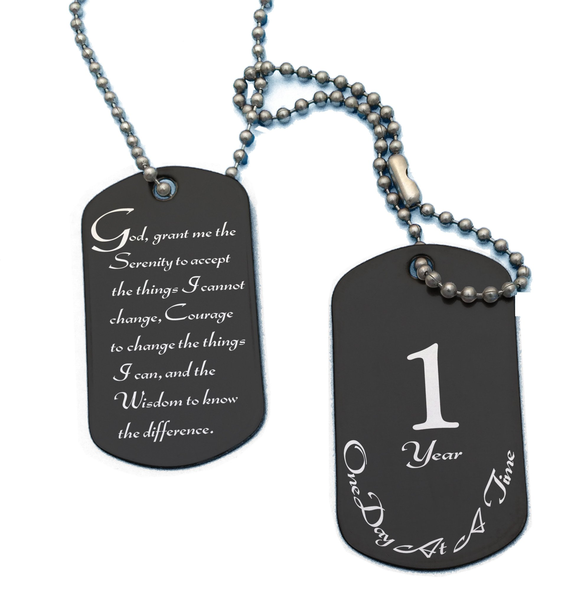 Serenity Prayer and 1 Year Sobriety Anniversary Black Stainless Steel Dog Tag Necklace for Clean Sober Birthday, AA, Alcoholics Anonymous, NA, Narcotics Anonymous