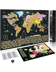 Weltkarte zum Rubbeln - Das Orginal von Wanderlust Maps   Rubbel Weltkarte (61 x 43cm) + Rubbelkarte (46 x 33 cm)   Schwarz/Gold   mit Zubehör und Geschenkverpackung   Hergestellt in der EU