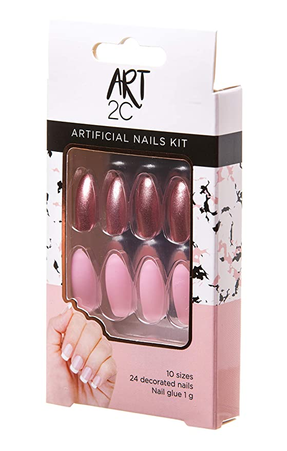 Art 2C - Kit de uñas postizas con pegamento fáciles de poner y quitar, 24 uñas decoradas, 10 tamaños (043)
