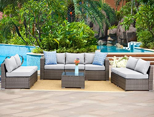 Wisteria Lane Outdoor Furniture Set 8 PCS Wicker Sectional Sofa for Garden Backyard,Modular Couch with Sophisticated Glass Coffee Table,Upgrade Grey Cushion
