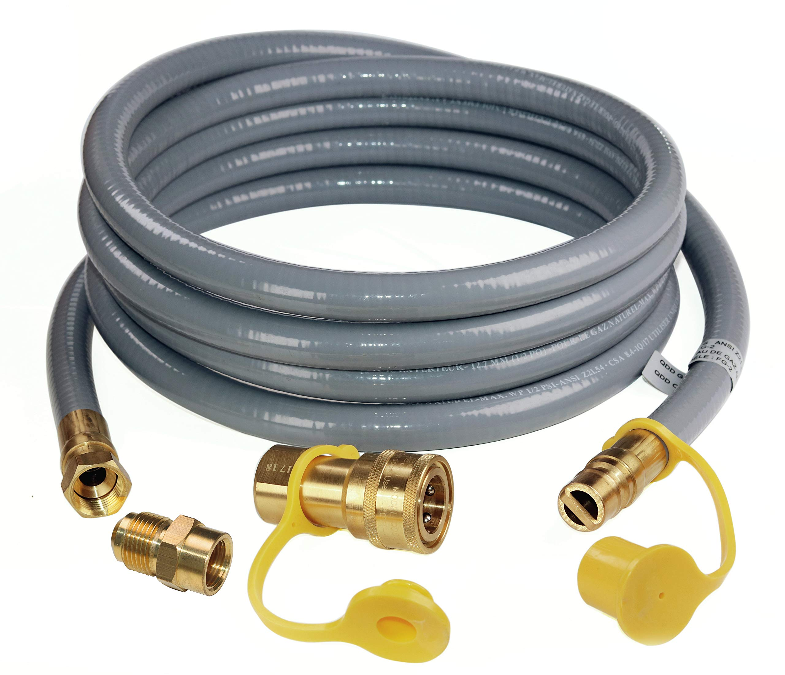 DOZYANT 12 Feet 1/2 inch ID Natural Gas Grill Hose with Quick Connect Fittings Assembly for Low Pressure Appliance -3/8 Female to 1/2 Male Adapter for Outdoor NG/Propane Appliance - CSA Certified by DOZYANT