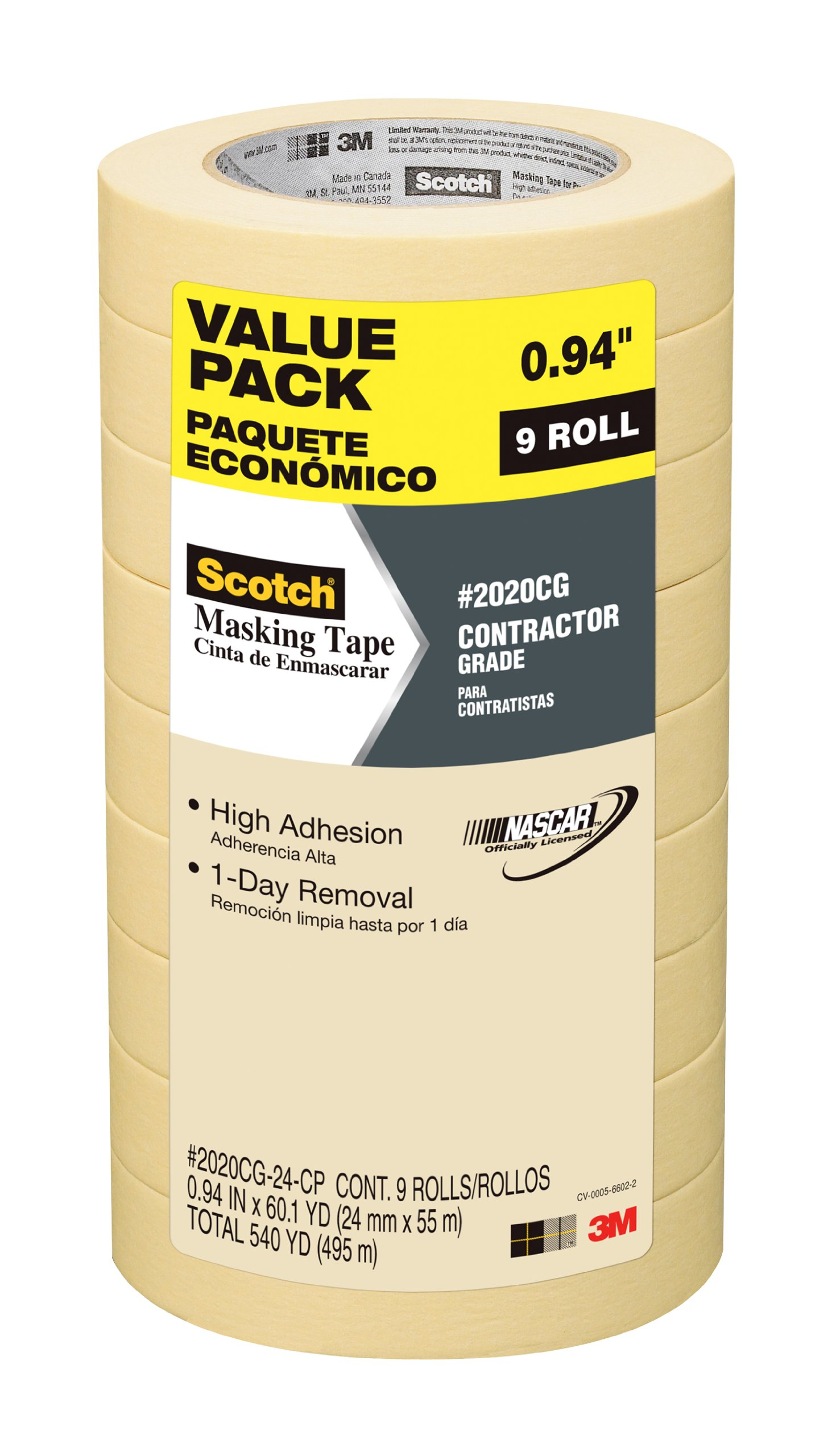 Scotch Contractor Grade Masking Tape, 2020CG-24-CP, 0.94-Inch by 60.1-Yards, 9 Rolls