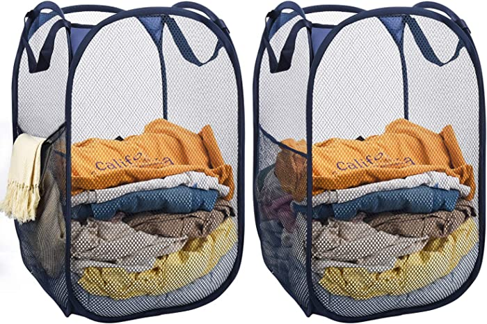Mesh Laundry Basket Collapsible, 2pcs Pop Up Mesh Hamper with Side Pocket and Reinforced Handles, Solid Bottom and Sturdy, Fold to Storage and Easy to Open, Great Hamper for Dorm, Bedroom or Travel
