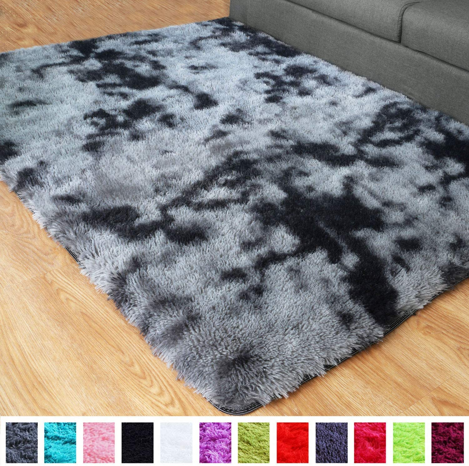 PAGISOFE Ultra Soft Abstract Area Fluffy Rug Black White Gray 4x5.3 Feet Carpet Thick Accent Rugs for Living Room Bedroom Dining Room Decor Multi Color with Rubber Backing (Grey and Black)