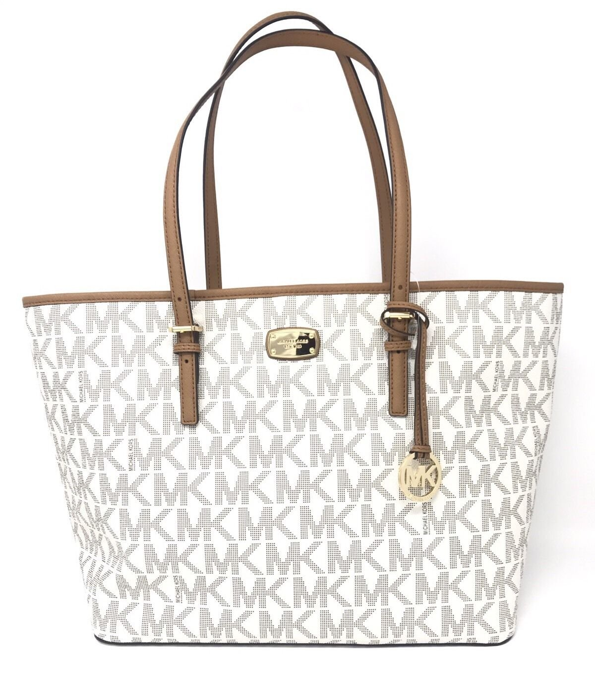 Michael Kors 35F6GFEL3L Jet Set Travel Vanilla/Acorn Large Carryall Tote Handbag