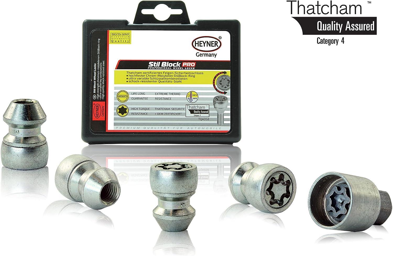 B-Max Models 2010 To 2020 Heyner Germany Stil Block PRO Locking Wheel Nuts Removal Key M12x1.5 Set 4 Locks Thatcham Quality Assured Bolts 070//5