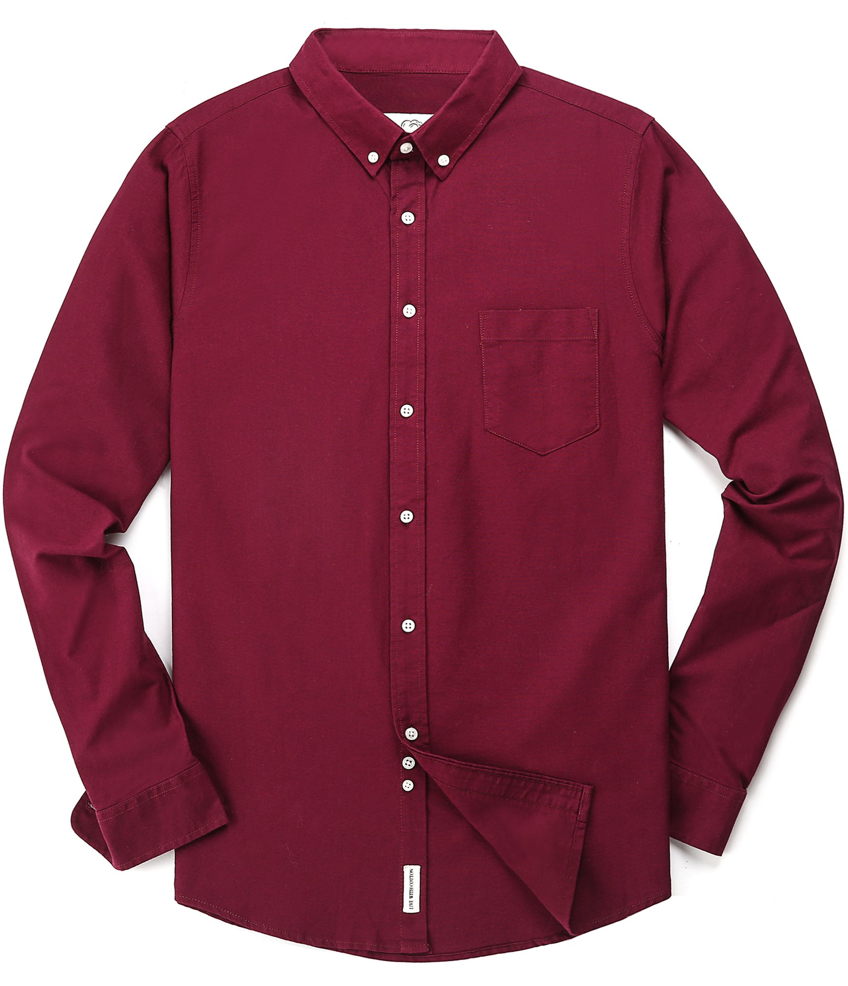 Men's Oxford Long Sleeve Button Down Dress Shirt with Pocket,Wine Red,Medium