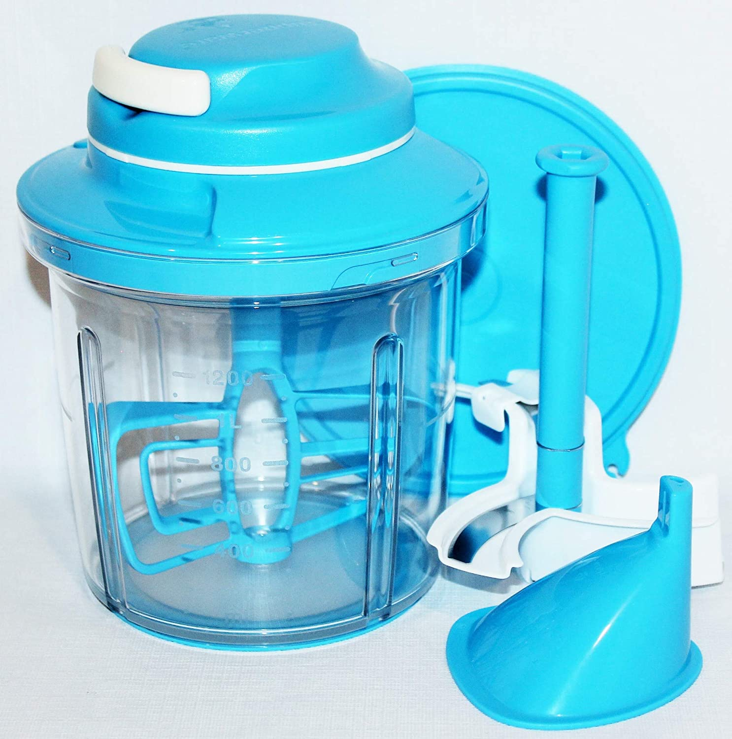 Tupperware Power Chef Pull-Cord System with Whisk and Blade Time Savers Salt Water Taffy Blue