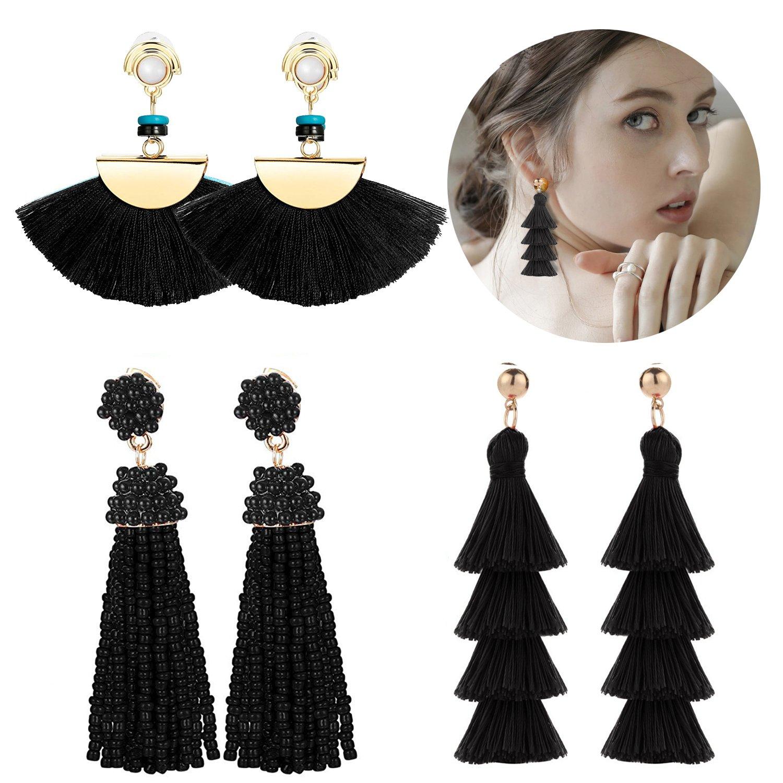 Adramata Black Tassel Earrings for Women Girls Dangle Drop Earring Set