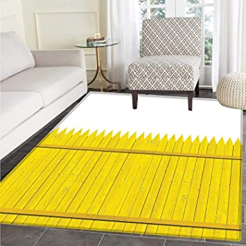 Amazon Com Yellow Anti Skid Area Rug Colorful Wooden Picket Fence