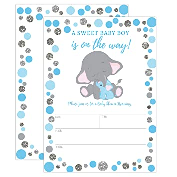 Amazon Com Boy Elephant Baby Shower Invitation Blue And Silver