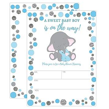 amazon com boy elephant baby shower invitation blue and silver