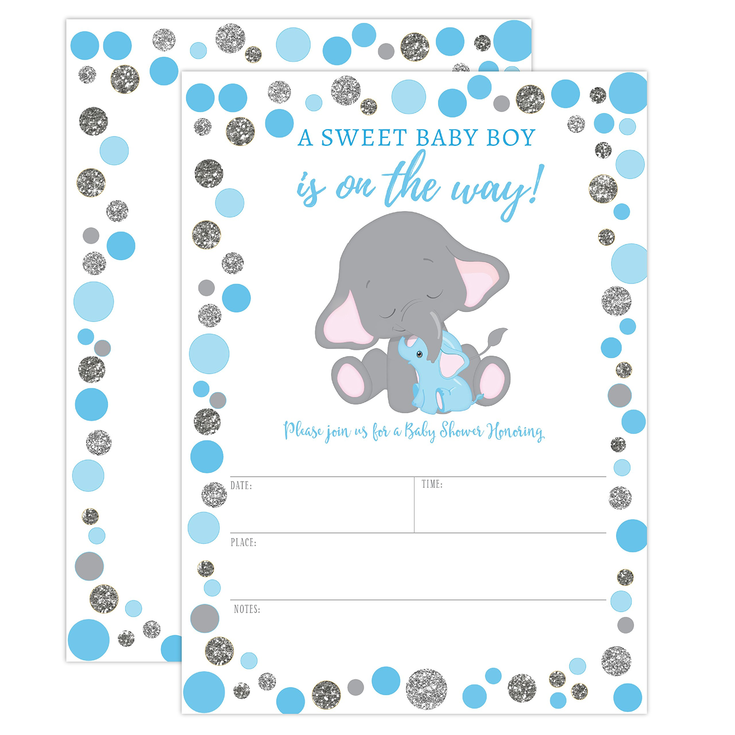 Boy Elephant Baby Shower Invitation, Blue and Silver Elephant Baby Shower, Jungle Baby Shower Invite, It's a Boy, 20 Fill in Invitations and Envelopes by Your Main Event Prints (Image #1)
