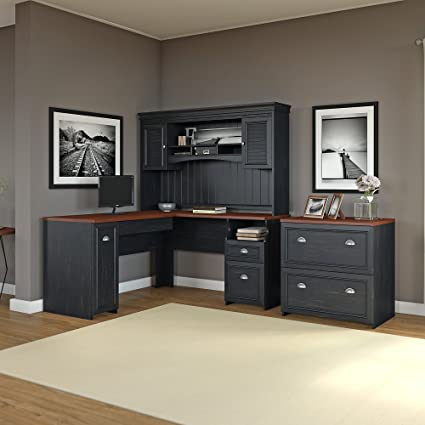 Bush Furniture Fairview L Shaped Computer Desk With Hutch And Lateral File  Cabinet