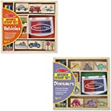 Melissa & Doug Wooden Stamps Sets (2): Dinosaurs and Vehicles