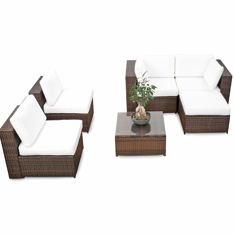 Amazon.de: erweiterbares 18tlg. XXL Lounge Set Polyrattan - braun ...