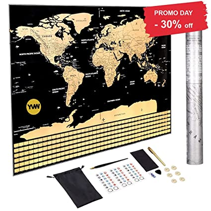 Amazon.com: Scratch Off World maps 2018, L-Size Poster/with Country ...